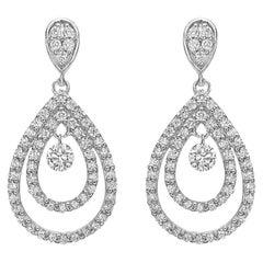 Diamond Double Pear-Shaped Drop Earrings