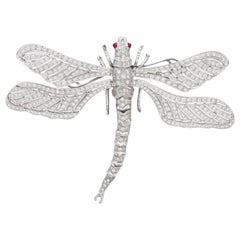 Diamond Dragonfly En Tremblant Brooch