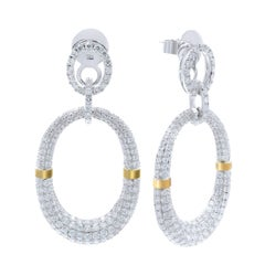Diamond Drop Chandelier Pave Encrusted Party Earrings 6.25cts in 18K White Gold