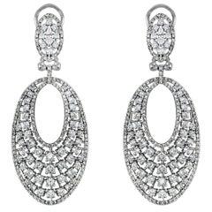 Diamond Drop Dangle Earrings 14 Karat Gold