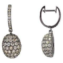 Diamond Drop Dangle Hanging Earrings in 18 Karat Gold