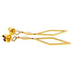 Diamond Drop Earrings, 14 Karat Gold 3 Diamond Shape Links Dangle Earrings
