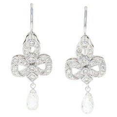 Diamond Drop Earrings, 18 Karat White Gold Pierced Briolette 1.34 Carat