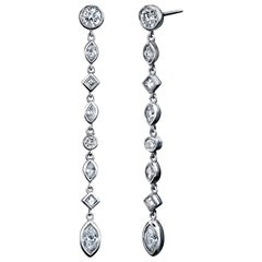Diamond Drop Earrings 2.75 Carat Platinum