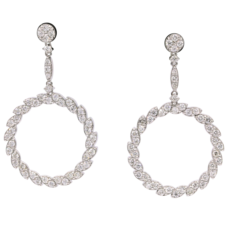 Diamond Drop Earrings 3.75 Carat 14 Karat White Gold