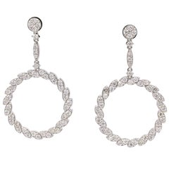 Diamond Drop Earrings 3.75 Carat 14 Karat White Gold