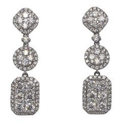 Diamond Drop Earrings 4.35 Carat 18 Karat White Gold