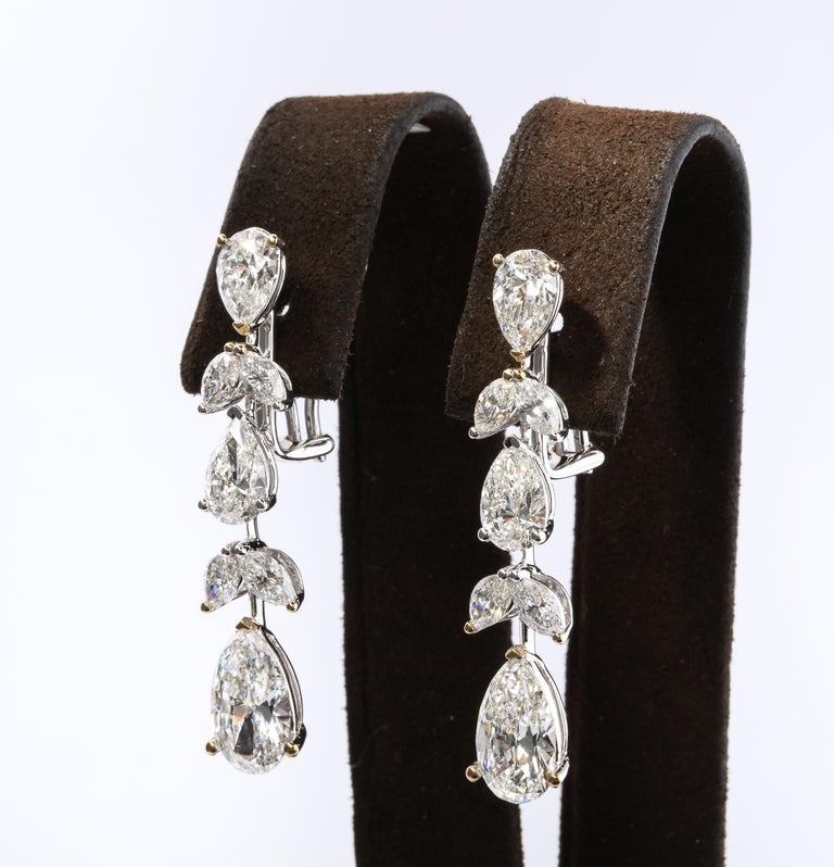 Pear Cut Diamond Drop Earrings For Sale