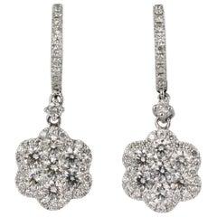 Diamond Drop Earrings in 18 Karat White Gold