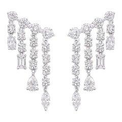 Diamond Drop Earrings with Fancy Cut Diamonds 3.80 Carat 18 KT White Gold