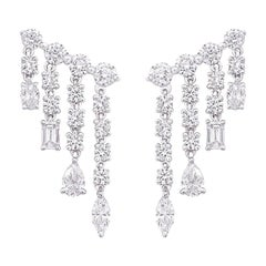 Diamond Drop Earrings with Fancy Cut Diamonds 3.80 Carat 18 Kt White Gold