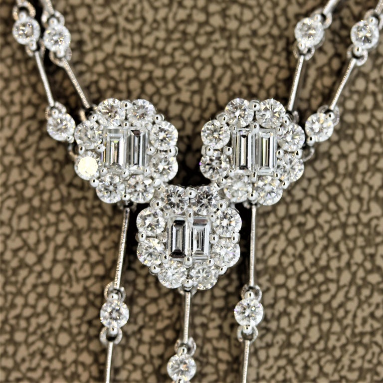 Diamond Drop Gold Double-Strand Necklace In New Condition For Sale In Beverly Hills, CA