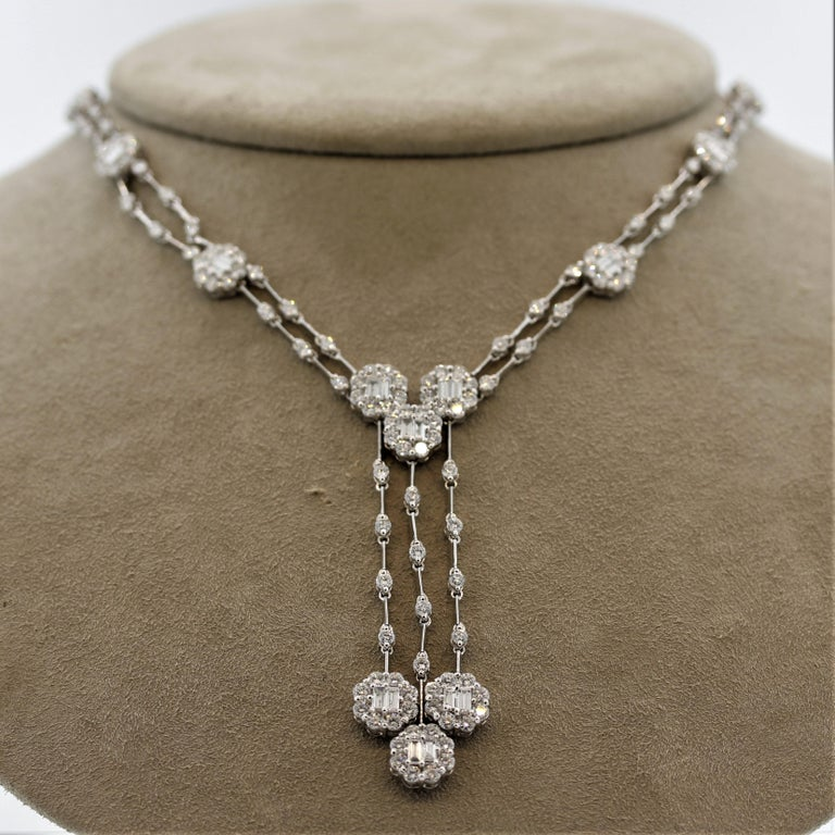 Diamond Drop Gold Double-Strand Necklace For Sale 3