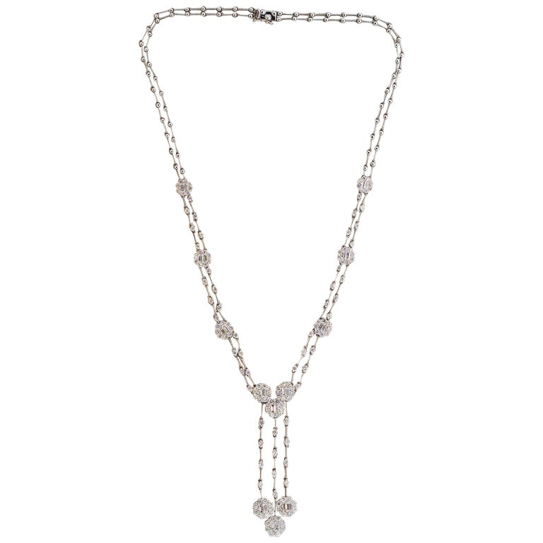 Diamond Drop Gold Double-Strand Necklace For Sale