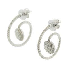 Diamond Drop Gold Spiral Earrings
