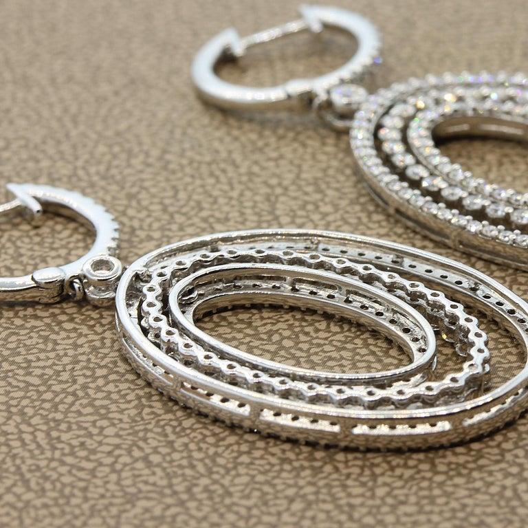 Modern Diamond Drop Halo Dangle Gold Earrings For Sale