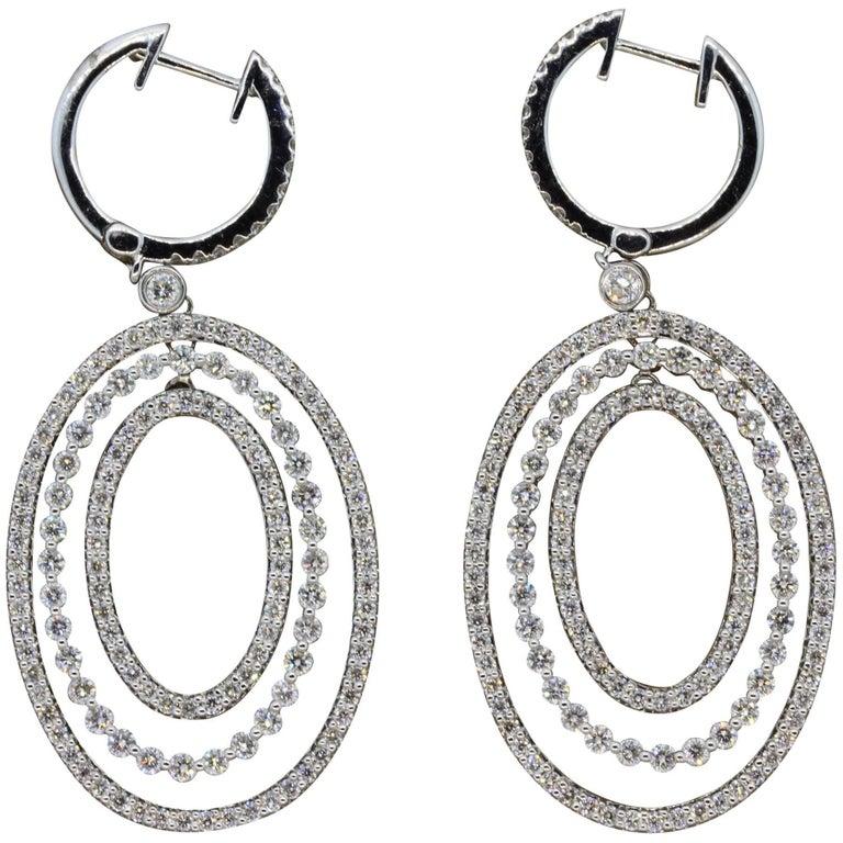 Diamond Drop Halo Dangle Gold Earrings For Sale