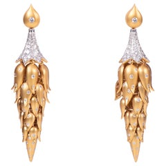 Diamond Drop Hanging Gold Earring