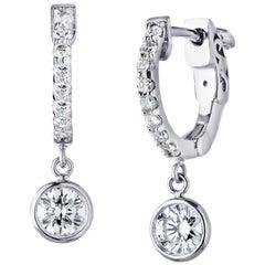 Diamond Drop hoop Earrings 3/4 Carat 14 Karat White