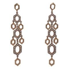 Diamond Drop Link Earrings 1.25 Carat 18 Karat Yellow Gold