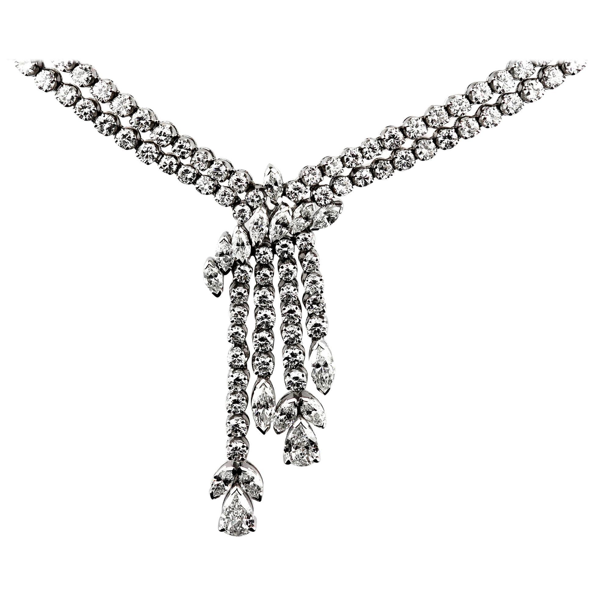 Diamond Drop Necklace/Headpiece, in 18K White Gold