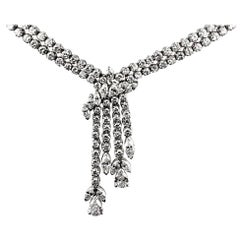 Diamond Drop Necklace/Headpiece, in 18K White Gold