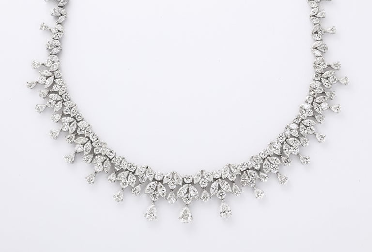 An elegant and timeless piece.   37.37 carats of white pear, round and marquise shape diamonds set in platinum.   Approximately 15.50 inch length.