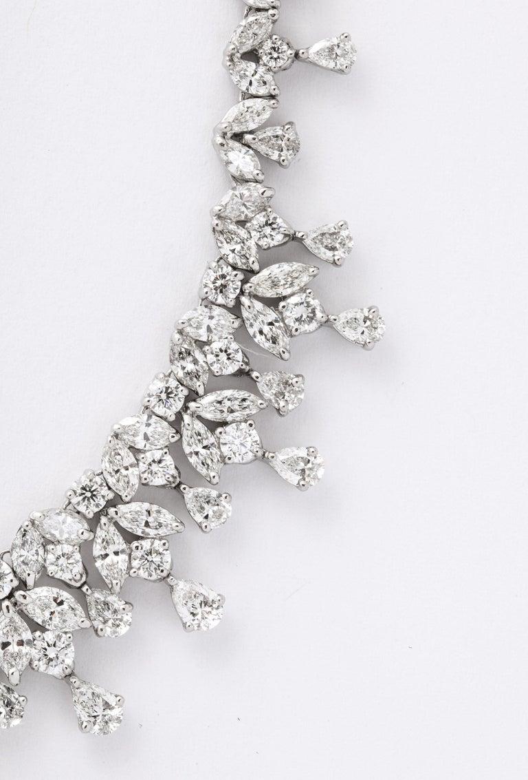 Pear Cut Diamond Drop Necklace For Sale