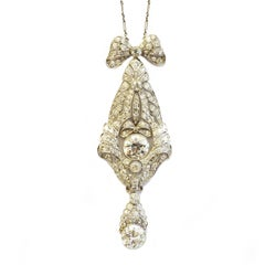 Circa 1915 Diamond Platinum Drop Pendant