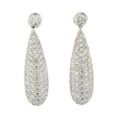 """Diamond """"Drop-Shape"""" Gold Drop Earrings"""