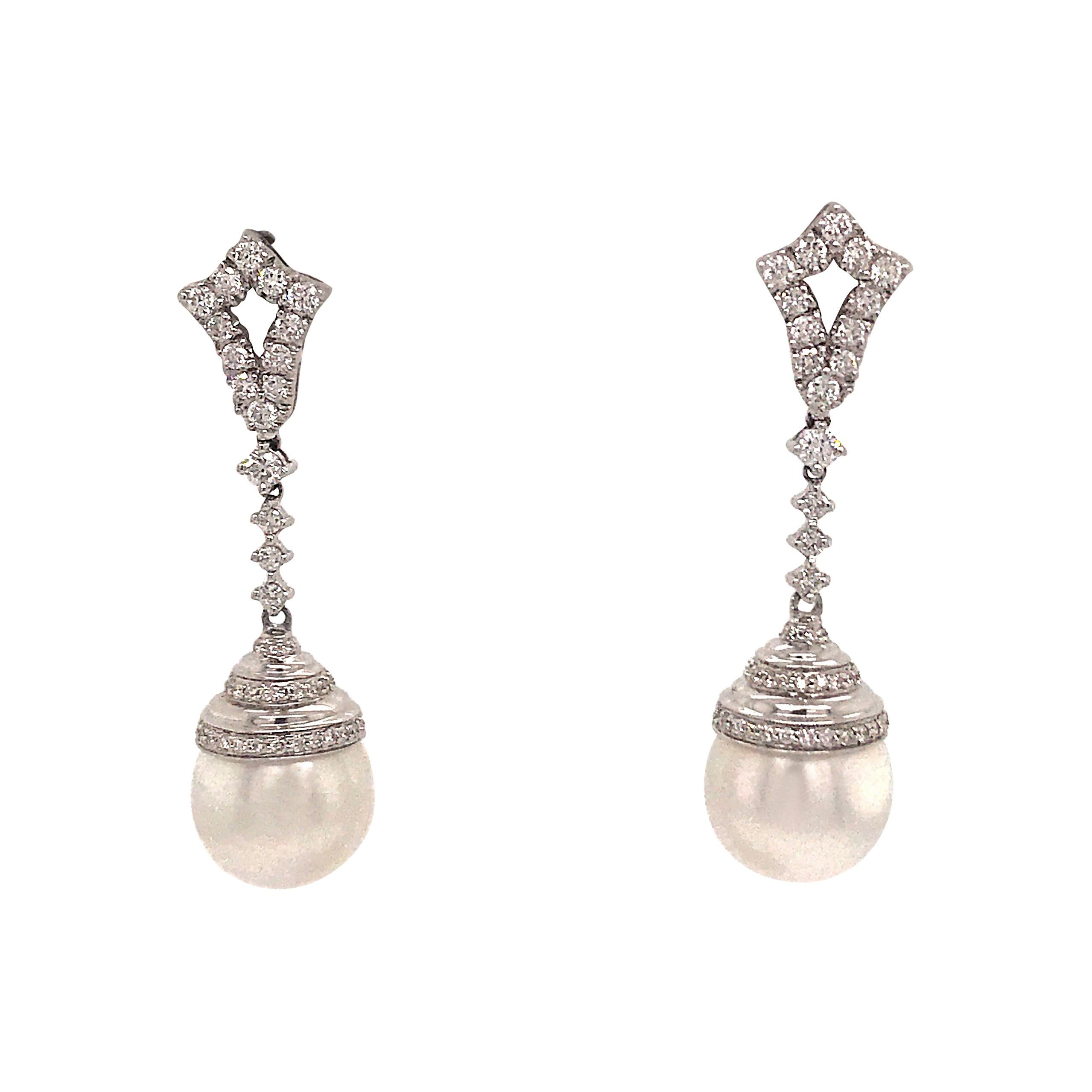 Diamond Drop South Sea Pearl Earrings 0.90 Carat 18 Karat White Gold