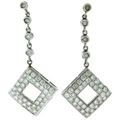 Diamond Drop Square Dangle Earrings in White Gold