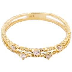 Diamond Duet Ring, 14 Karat Gold Diamond Double Band Ring, Stackable Ring