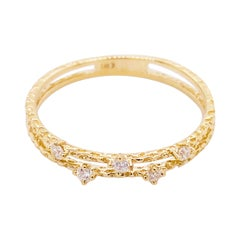 Diamond Duet Ring, Gold Textured Diamond Double Band Ring, Stackable Ring