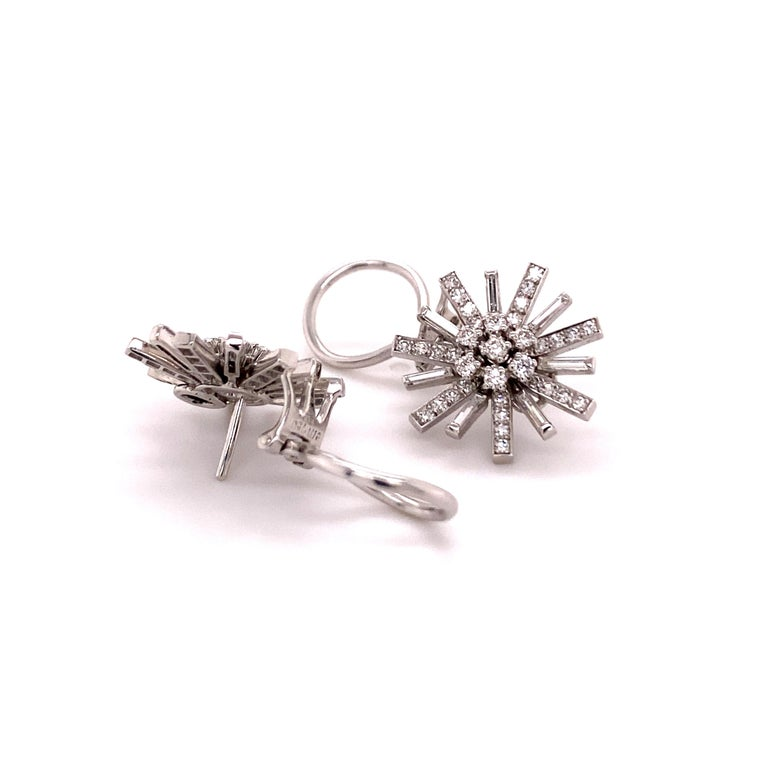 Contemporary Diamond Earclips in 18 Karat White Gold For Sale
