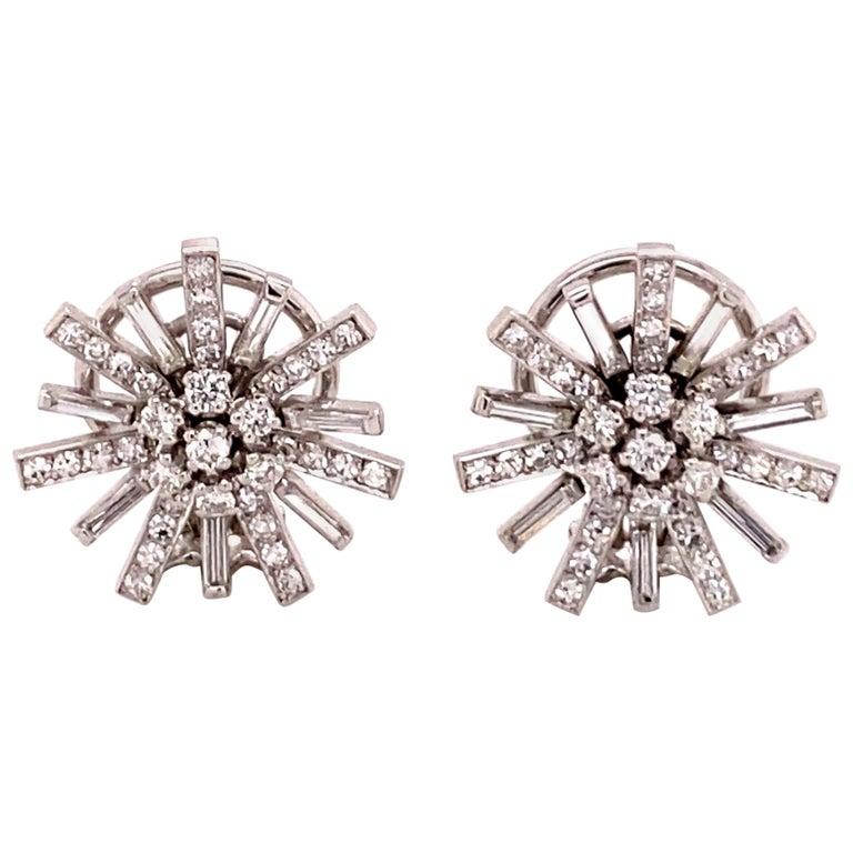 Diamond Earclips in 18 Karat White Gold For Sale