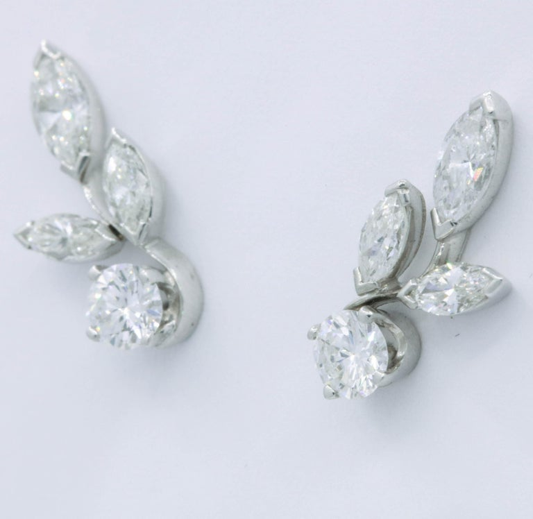 Contemporary Diamond Earring Climbers, 1.70 Carat For Sale