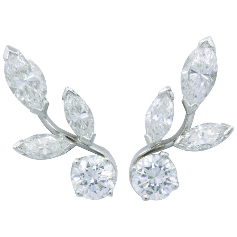 Diamond Earring Climbers, 1.70 Carat For Sale