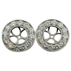 Diamond Earring Jackets in 14 Karat White Gold