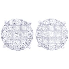Diamond Earring Round Illusion Stud in 18 Karat White Gold