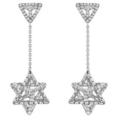 Diamond Earrings 2.39 Carat Platinum Merkaba Star