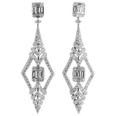 Diamond Earrings 2.48 Carat Art Deco Style 18 Karat White Gold