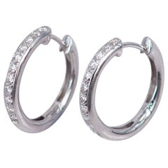 Diamond Earrings Hoop 18 Karat White Gold