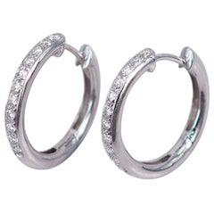 Diamond Earrings Hoop 18 Karat White Gold