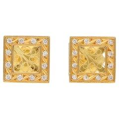 Diamond  Earrings in 18 Carat Yellow Gold Filigree