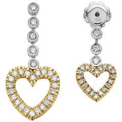 Bespoke Design Diamond Love Heart Drop, Dangle Earrings in 18 Karat Gold