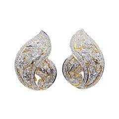 Diamond Earrings Set in 18 Karat Gold Settings