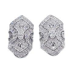 Diamond Earrings Set in 18 Karat White Gold Settings