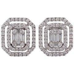 Diamond Earrings Studded in 18 Karat White Gold