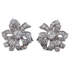 Diamond Earrings Stylised as Tied Bows, circa 1950